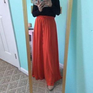 Long flowy modest orange maxi skirt